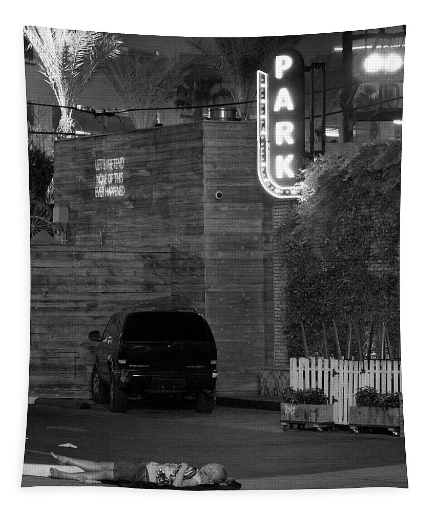 Black And White Tapestry featuring the photograph No Pretending Concrete Night by William Dey