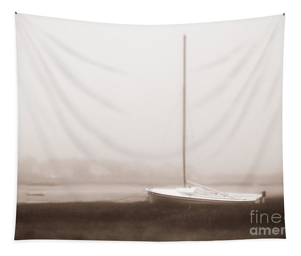 Abandon Tapestry featuring the photograph No Sailing Today Bw Bronze Tint by Jerry Fornarotto