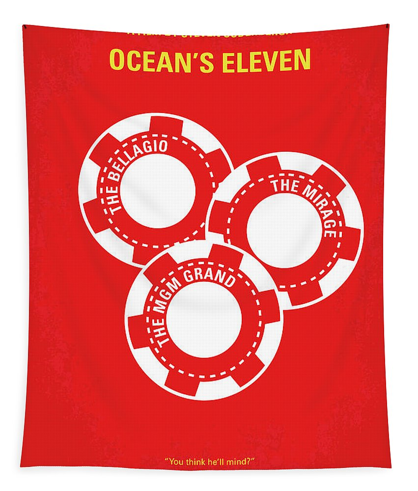Ocean's Tapestry featuring the digital art No056 My Oceans 11 minimal movie poster by Chungkong Art
