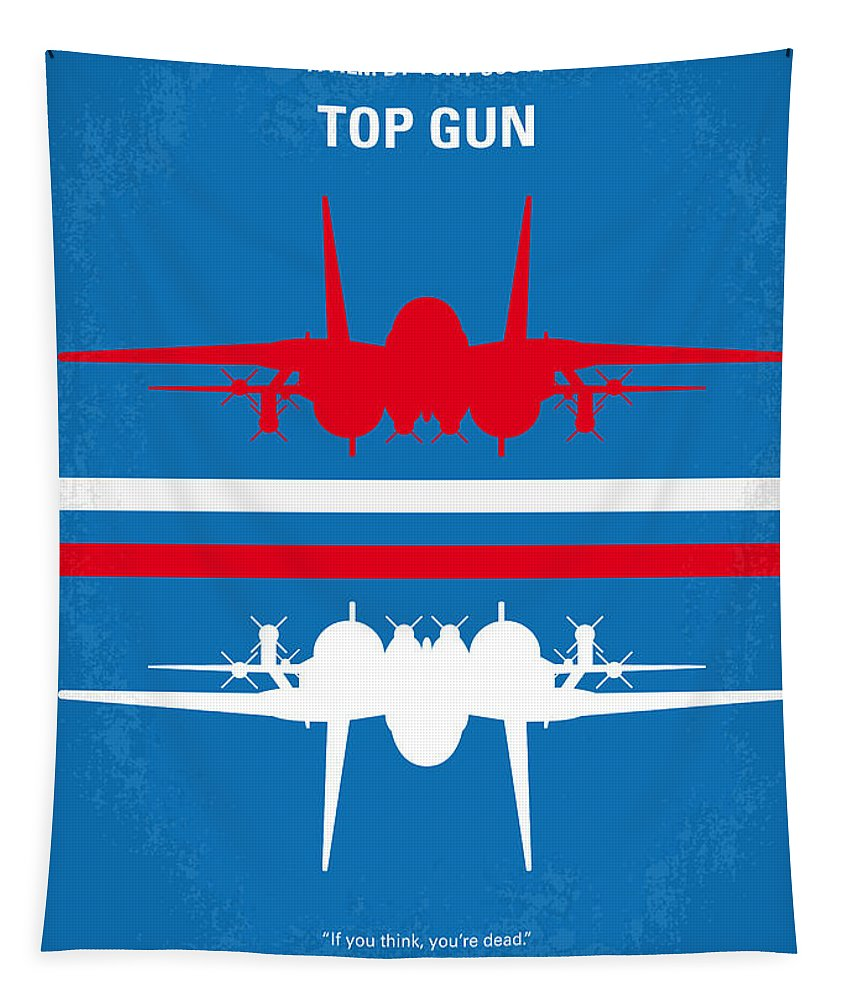 Top Tapestry featuring the digital art No128 My TOP GUN minimal movie poster by Chungkong Art