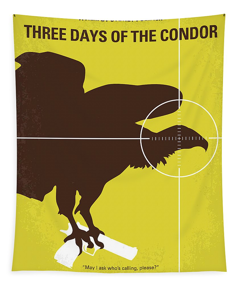 Three Tapestry featuring the digital art No659 My Three Days Of The Condor Minimal Movie Poster by Chungkong Art