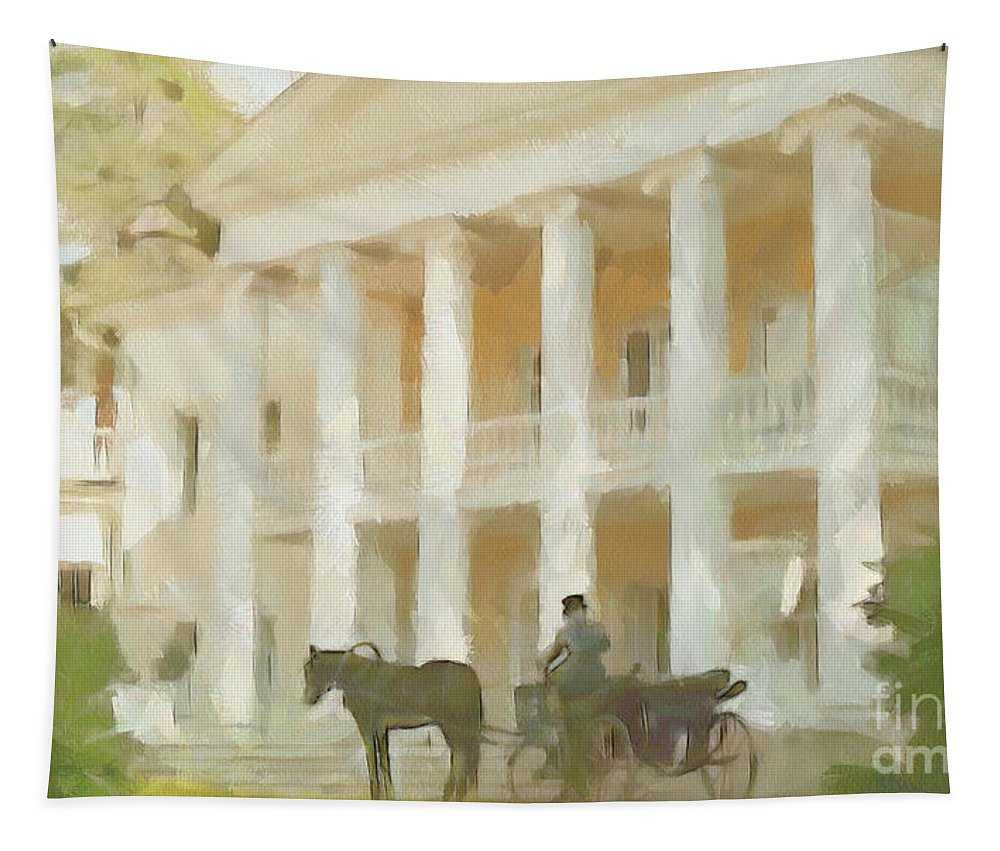 Russia Tapestry featuring the painting Noble Mansion Of The 19th Century In Russia by Sergey Lukashin
