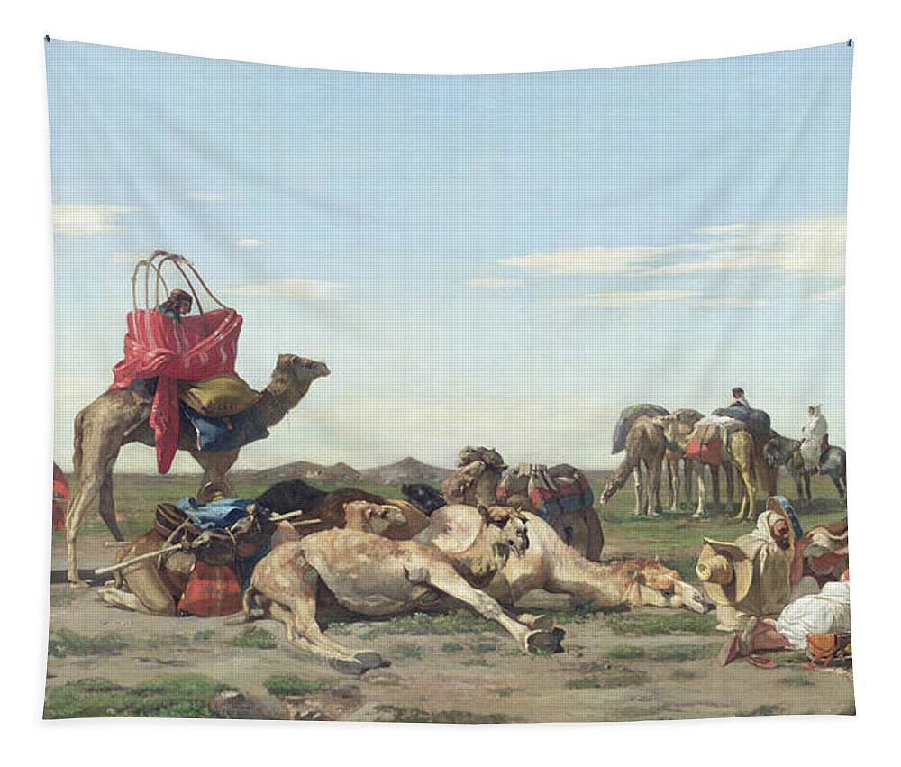 Nomads Tapestry featuring the painting Nomads In The Desert by Georges Washington