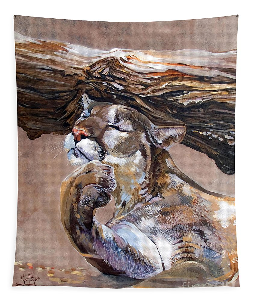 Catamount Tapestry featuring the painting Nonchalant by J W Baker