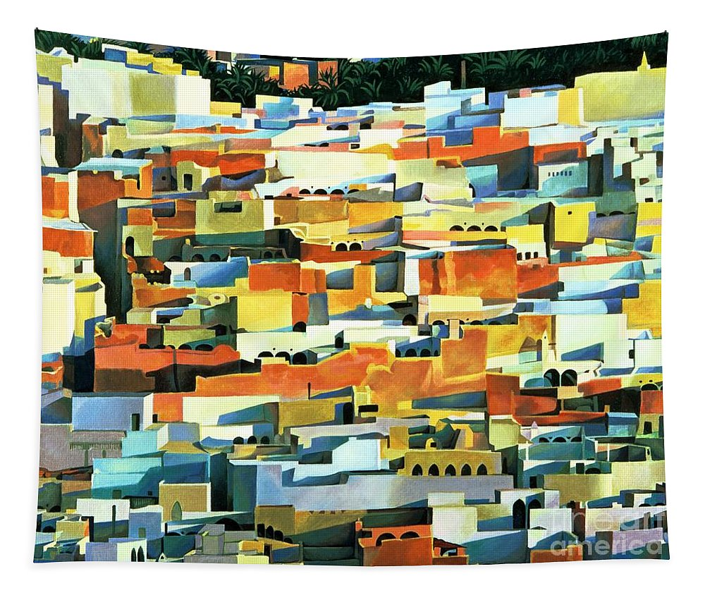 Town; Urban; Flat Roofs; Roof; Africa; Moorish Architecture; African; Townscape; North Africa; Colorful; House; Houses Tapestry featuring the painting North African Townscape by Robert Tyndall