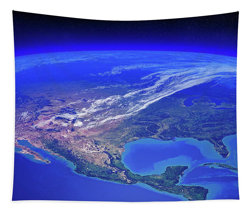 Earth Tapestry featuring the photograph North America Seen From Space by Johan Swanepoel