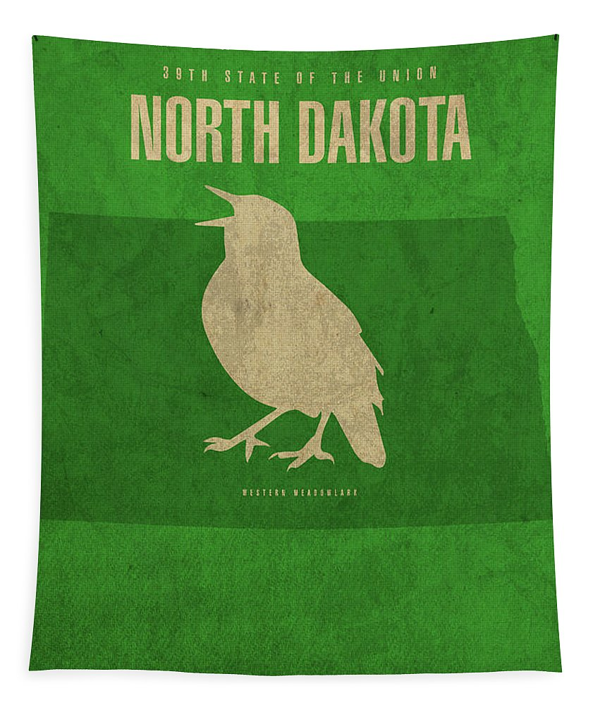 North Dakota Tapestry featuring the mixed media North Dakota State Facts Minimalist Movie Poster Art by Design Turnpike