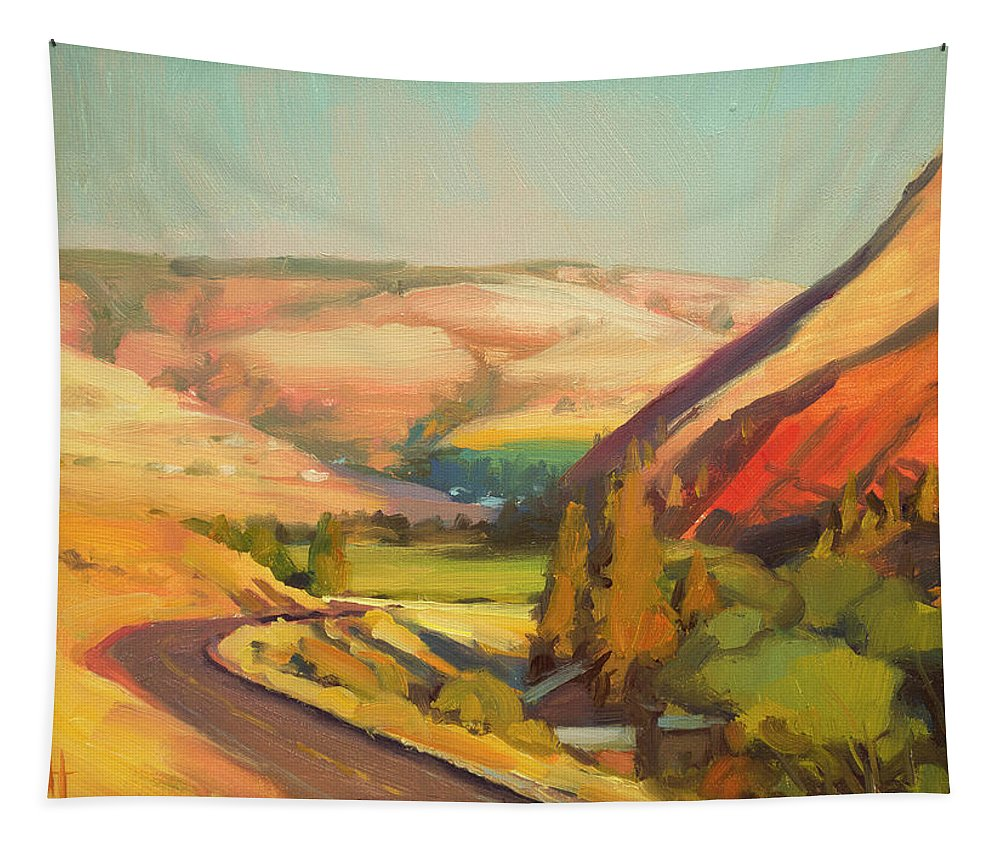 Country Tapestry featuring the painting North Fork Touchet by Steve Henderson