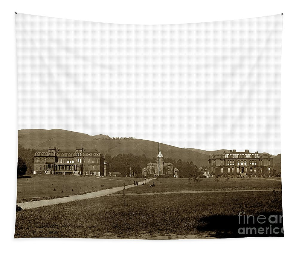 North Hall Tapestry featuring the photograph North Hall, Bacon Hall, Library, South Hall, University Of California At Berkeley Circa 1905 by California Views Archives Mr Pat Hathaway Archives