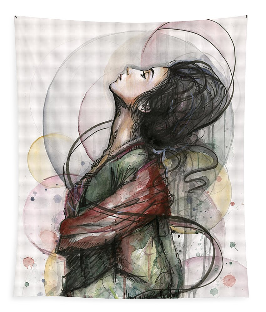 Watercolor Tapestry featuring the painting Beautiful Lady by Olga Shvartsur