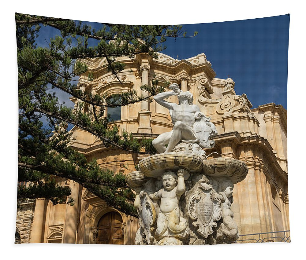 Georgia Mizuleva Tapestry featuring the photograph Noto Sicilian Baroque - Church Of San Domenico On A Bright Sunny Day by Georgia Mizuleva
