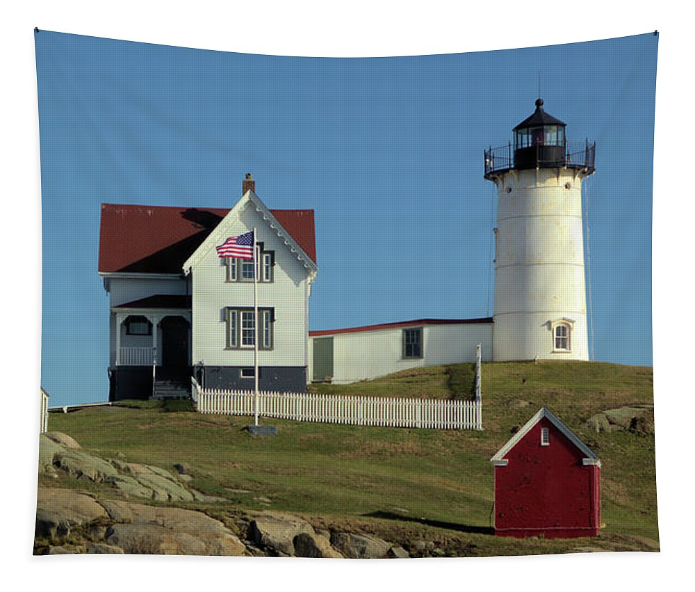 Nubble Light Cape Neddick Light Tapestry featuring the photograph Nubble Light 1 by Robert McCulloch