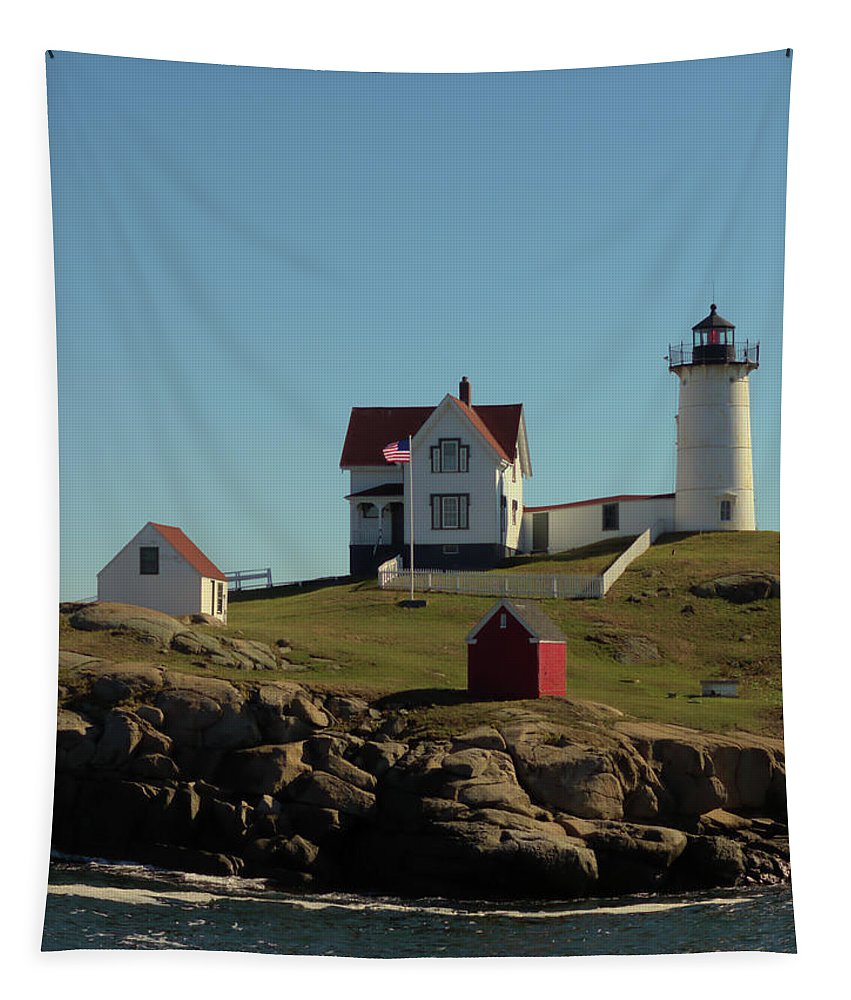 Nubble Light Cape Neddick Light Tapestry featuring the photograph Nubble Light 4 by Robert McCulloch