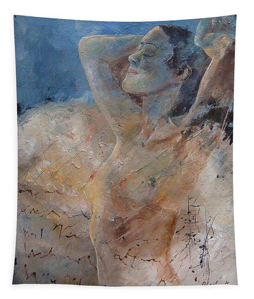 Nude Tapestry featuring the painting Nude 0508 by Pol Ledent