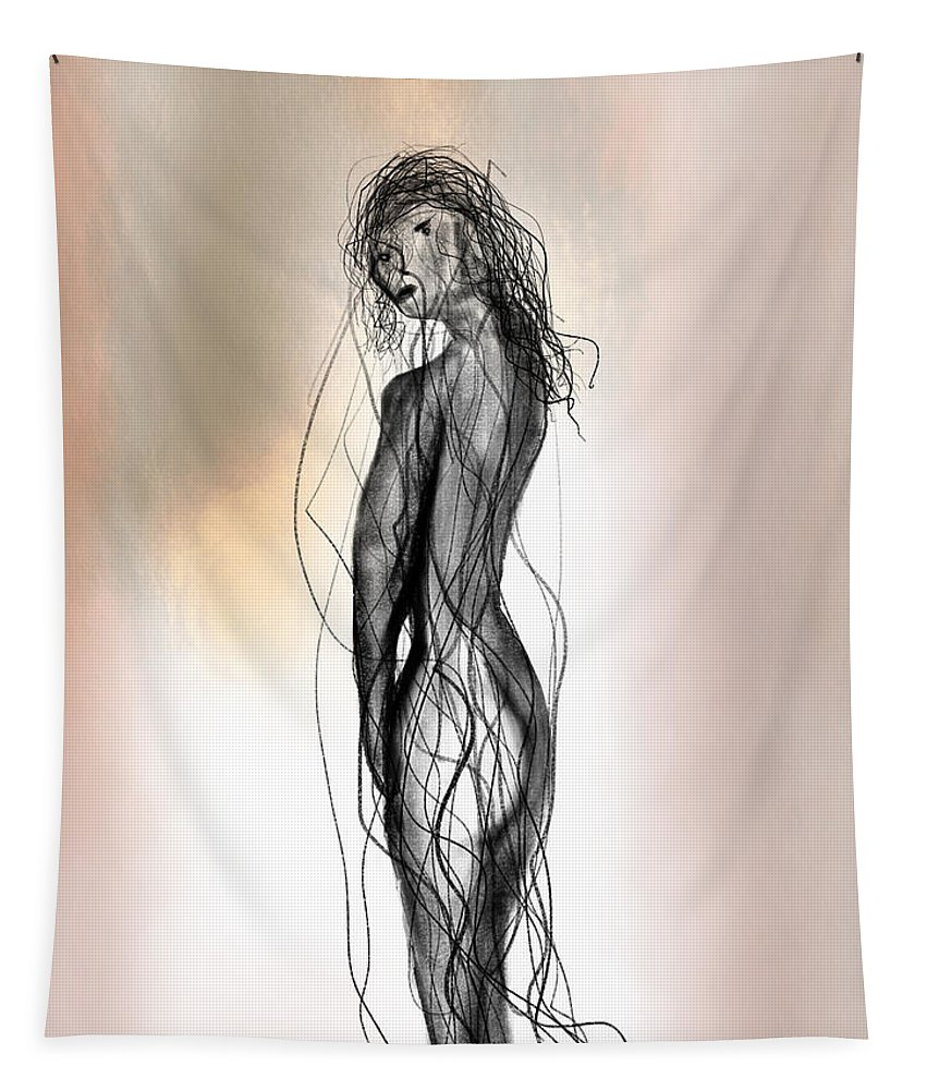 Apple Pencil Tapestry featuring the painting Nude 14 by Bill Owen