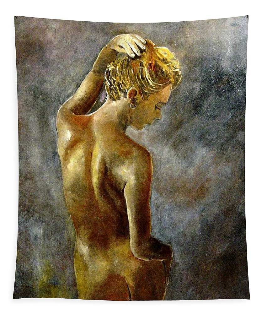 Girl Nude Tapestry featuring the painting Nude 27 by Pol Ledent