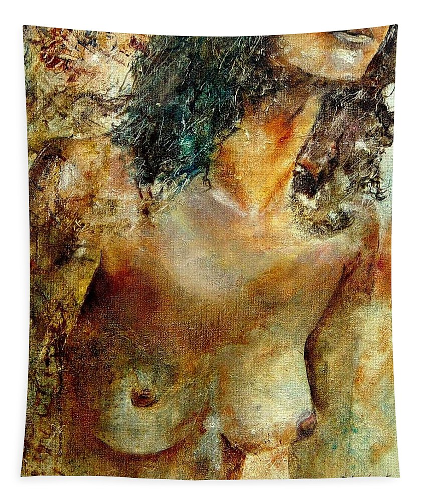 Girl Nude Tapestry featuring the painting Nude 34 by Pol Ledent