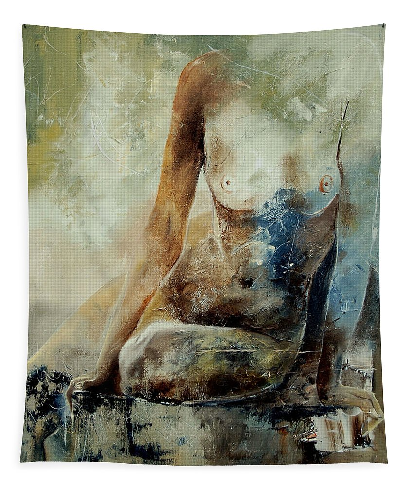 Nude Tapestry featuring the painting Nude 560408 by Pol Ledent