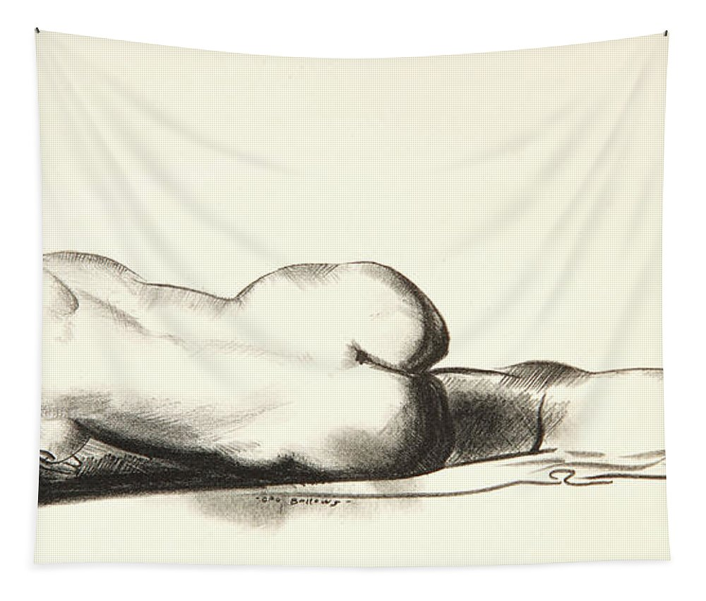 Bellows Tapestry featuring the drawing Nude Study, Woman Lying Prone by George Wesley Bellows