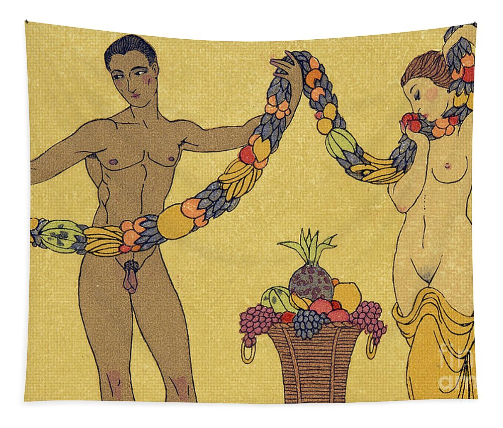 Interracial Tapestry featuring the painting Nudes Illustration From Les Chansons De Bilitis by Georges Barbier