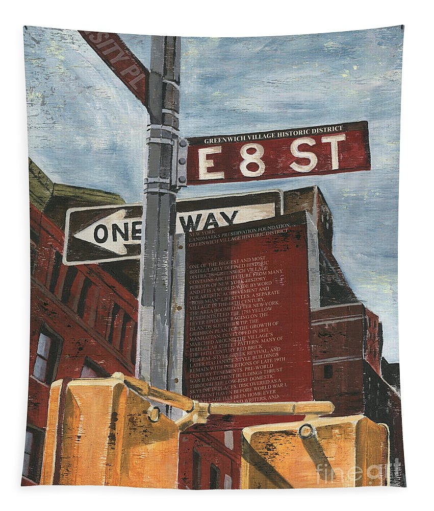 Nyc Tapestry featuring the painting Nyc 8th Street by Debbie DeWitt