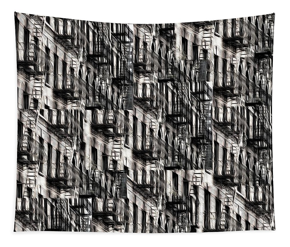 Building Tapestry featuring the photograph Nyc Fire Escapes by Edward Fielding