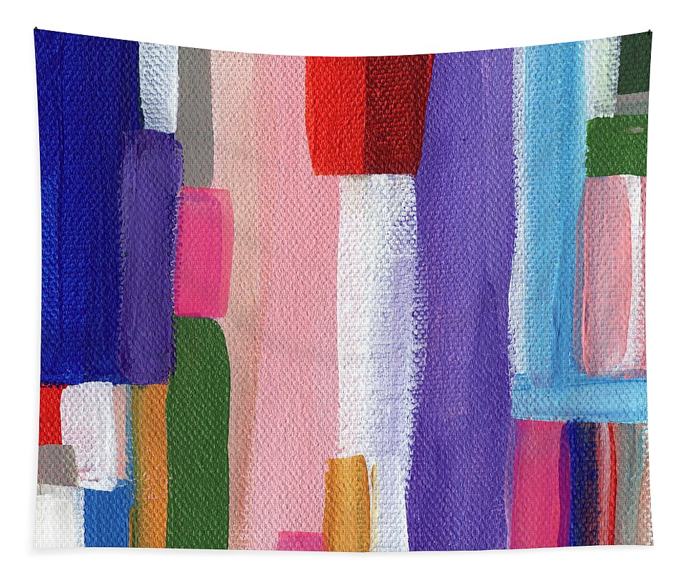 Abstract Modern Painting Tapestry featuring the painting Nyhavn- Abstract Painting by Linda Woods