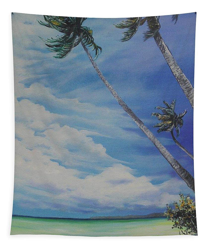 Trinidad And Tobago Seascape Tapestry featuring the painting Nylon Pool Tobago. by Karin Dawn Kelshall- Best
