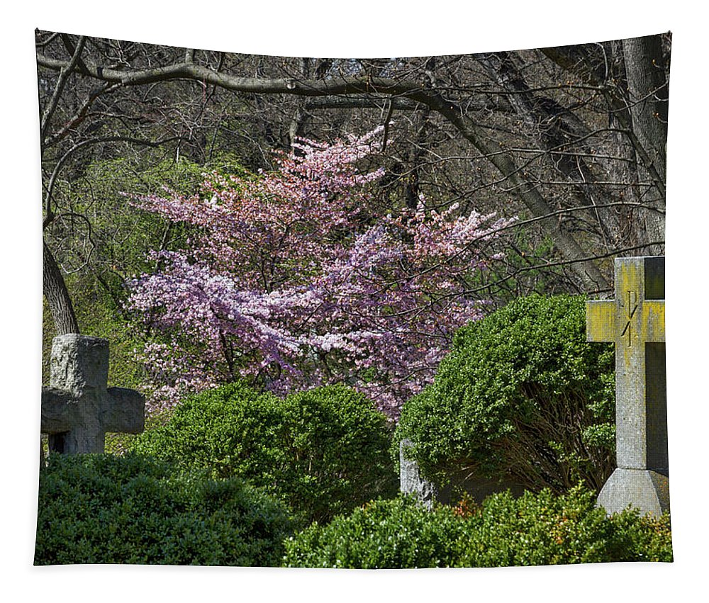 Oak Tapestry featuring the photograph Oak Hill Cemetery Crosses by Stuart Litoff