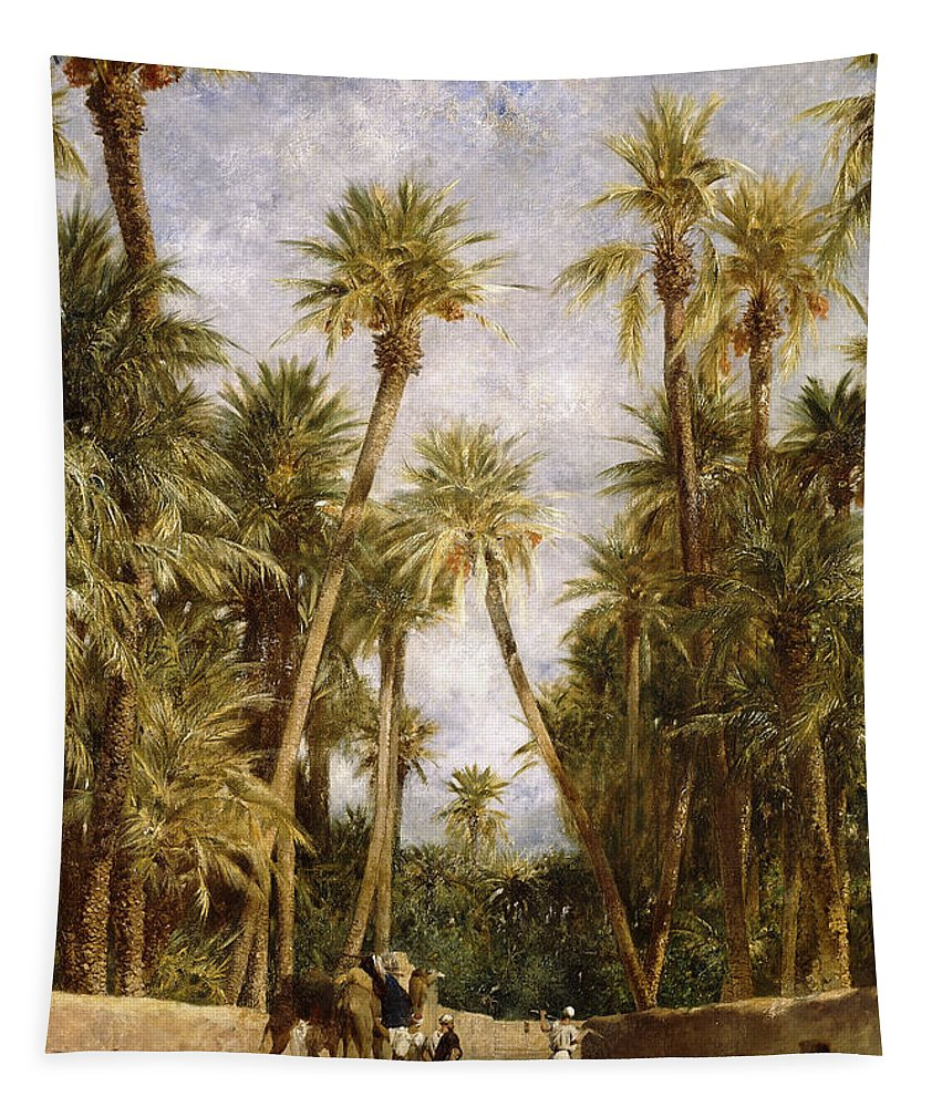 Camel Tapestry featuring the painting Oasis At Lagrount by Eugene Fromentin