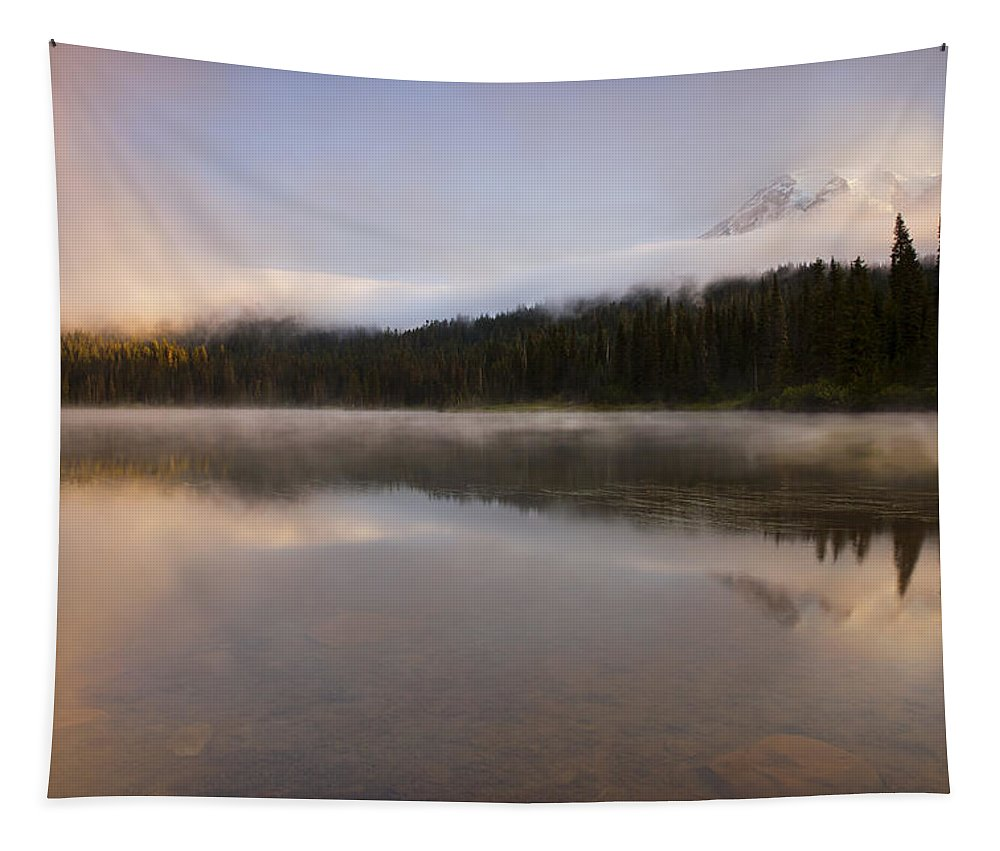 Mt. Rainier Tapestry featuring the photograph Obscured Dawn by Mike Dawson
