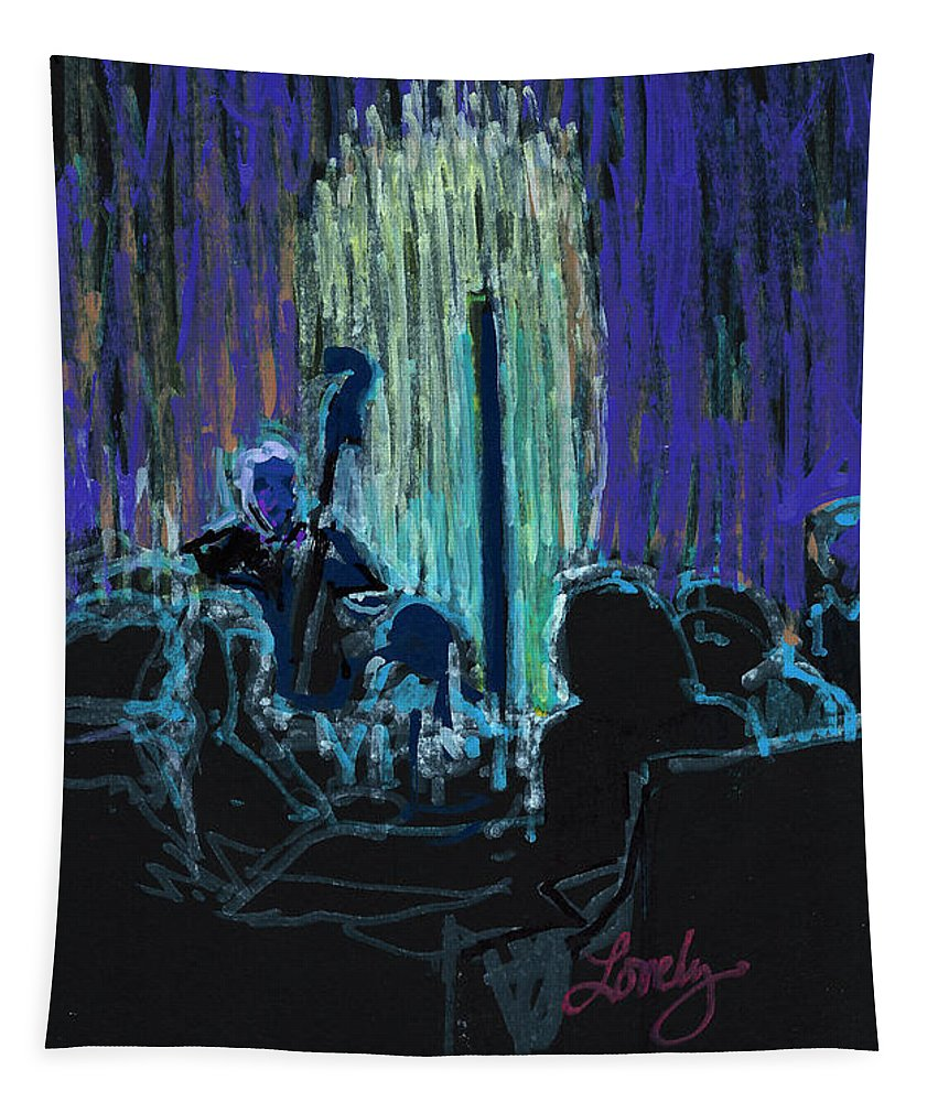 Ocean Lounge Tapestry featuring the painting Ocean Lounge Jazz Night by Candace Lovely