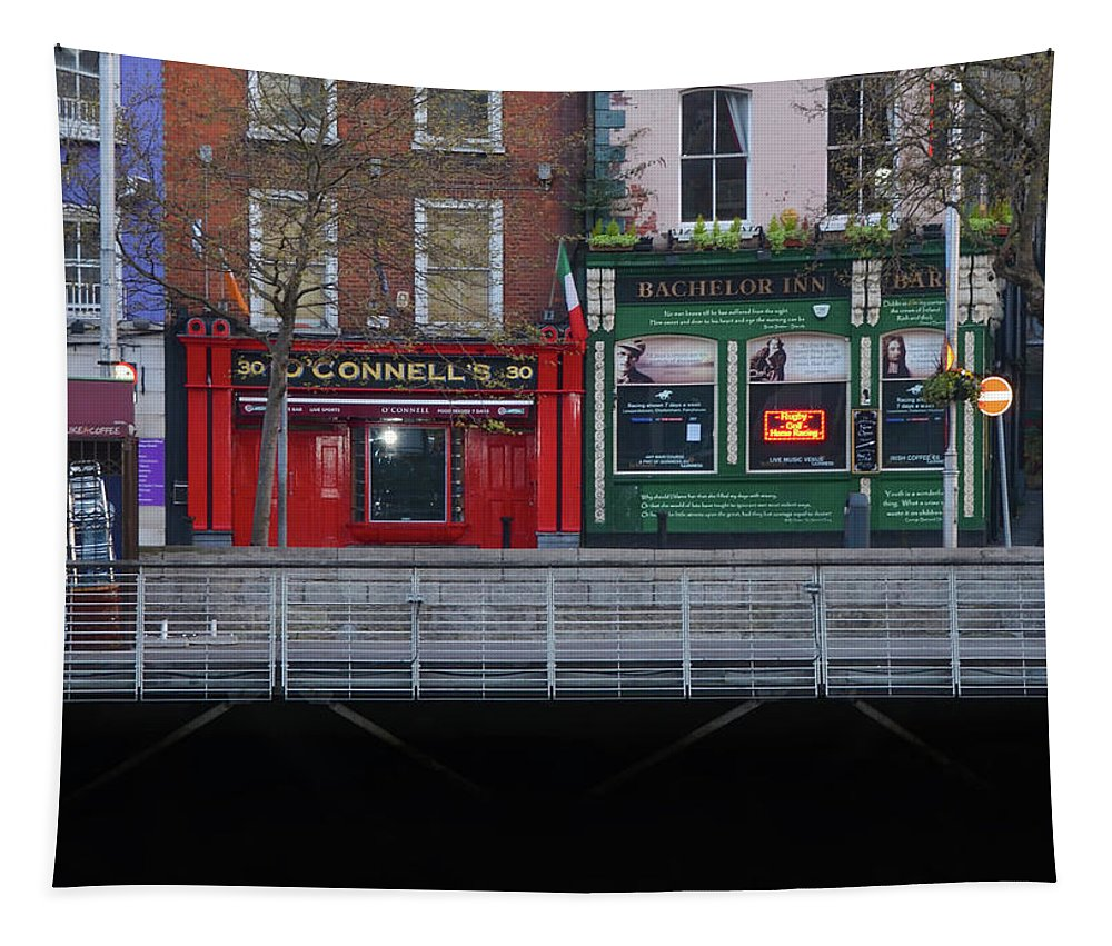 Oconnells Tapestry featuring the photograph Oconnells Pub And The Batchelor Inn - Dublin Ireland by Bill Cannon