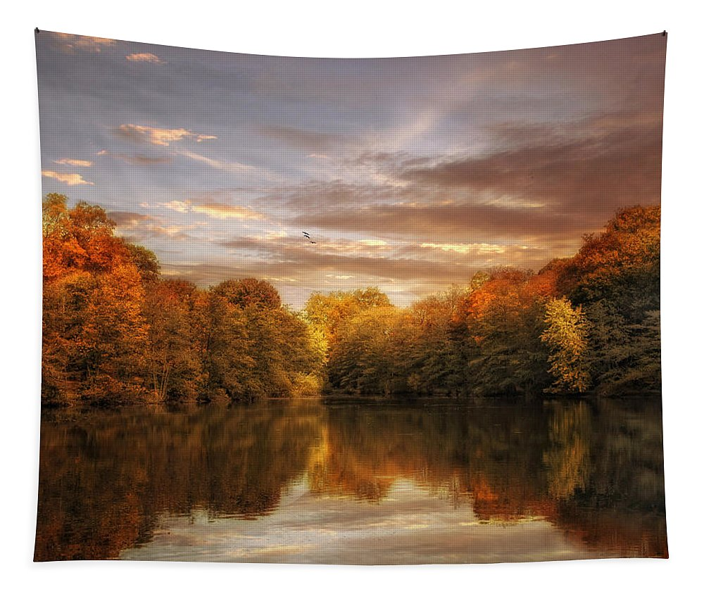 Nature Tapestry featuring the photograph October Lights by Jessica Jenney