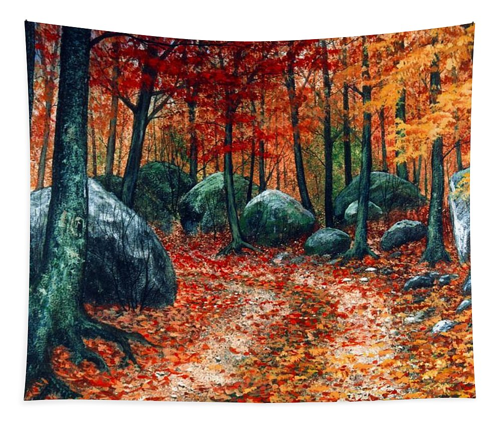 Landscape Tapestry featuring the painting October Woodland by Frank Wilson