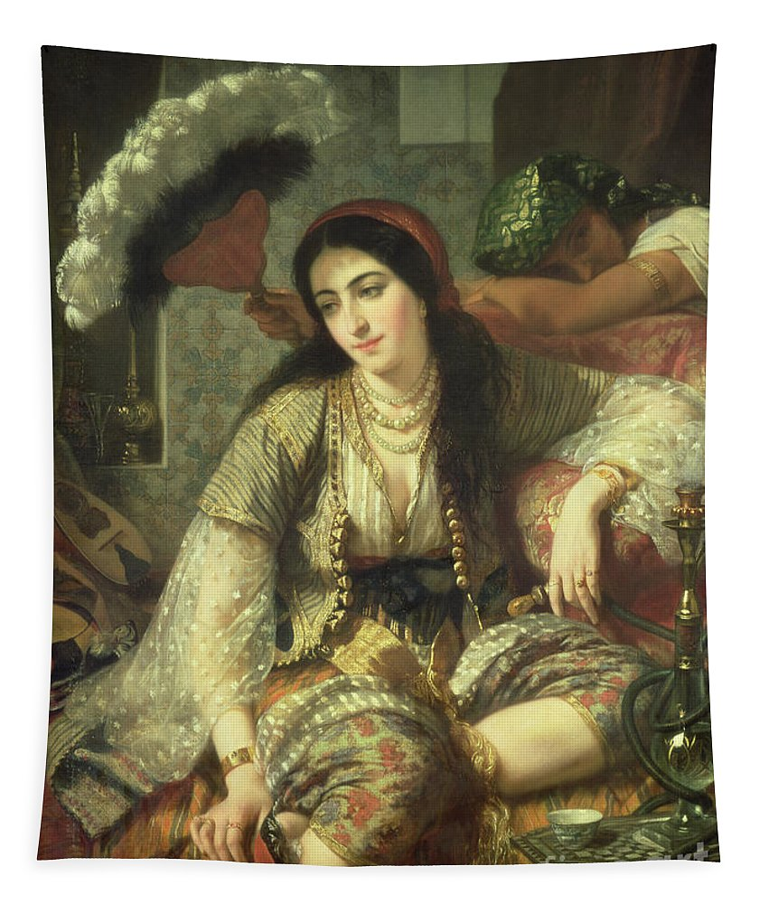 Odalisque Tapestry featuring the painting Odalisque by Jean Baptiste Ange Tissier