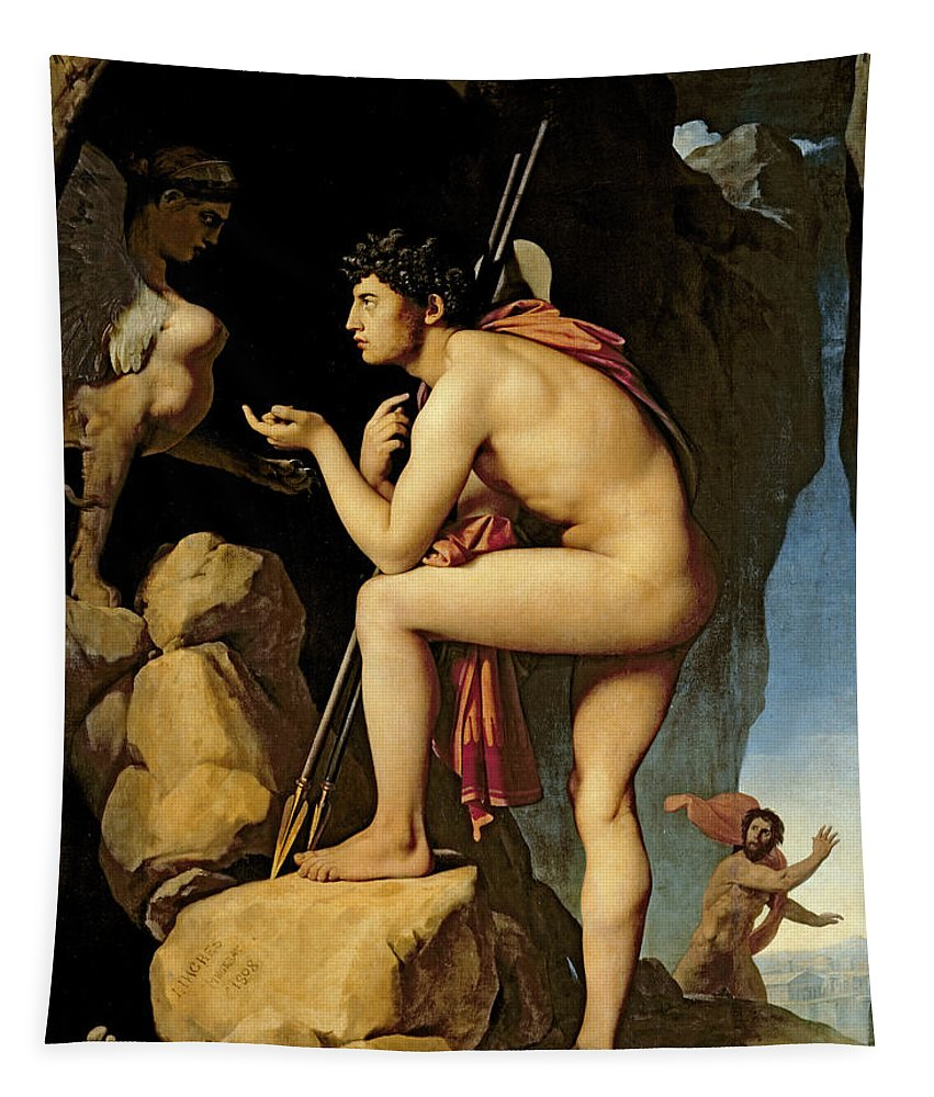 Oedipus Tapestry featuring the painting Oedipus And The Sphinx by Jean Auguste Dominique Ingres