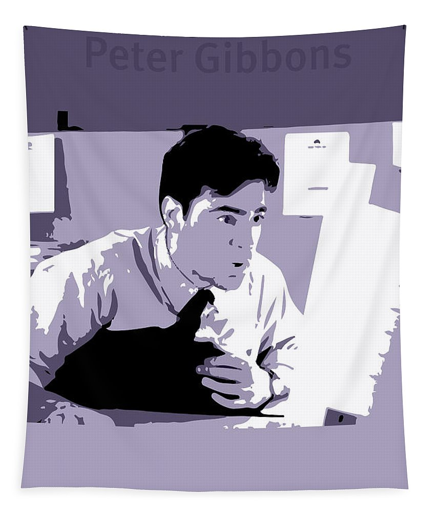 Office Space Tapestry featuring the mixed media Office Space Peter Gibbons Movie Quote Poster Series 001 by Design Turnpike