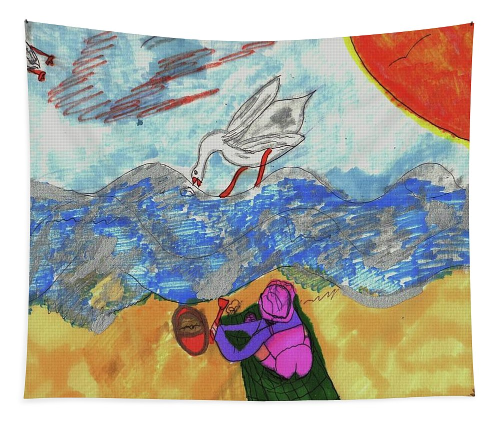 Girl On A Beach Watching Birds Tapestry featuring the mixed media Oh So That's Where My Sandwich Went by Elinor Helen Rakowski