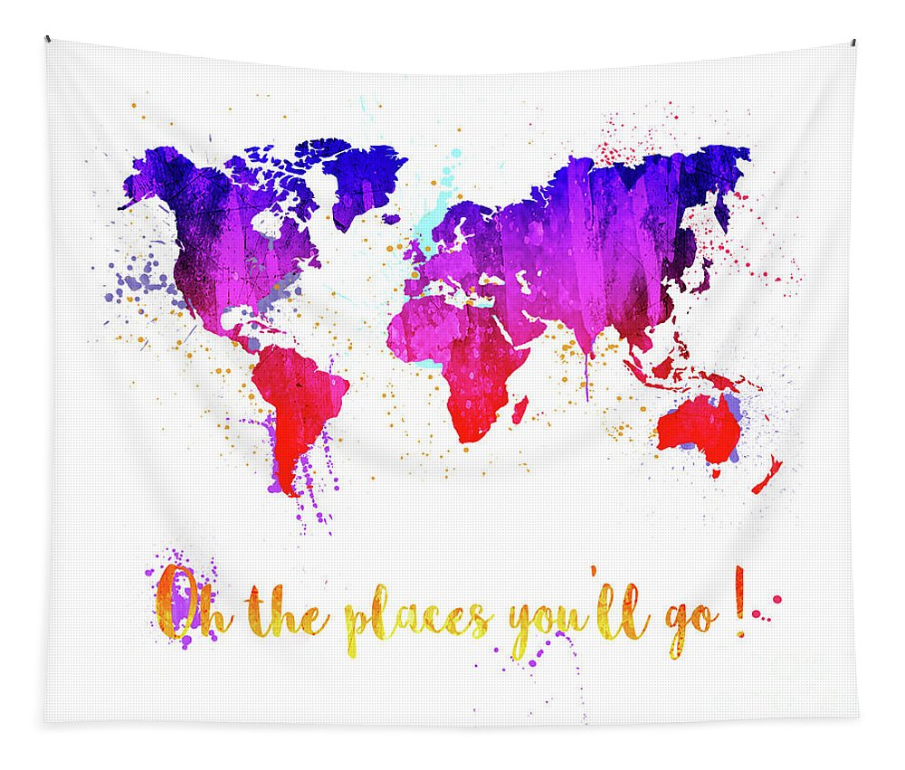 World Map Tapestry featuring the painting Oh The Places by Delphimages Photo Creations
