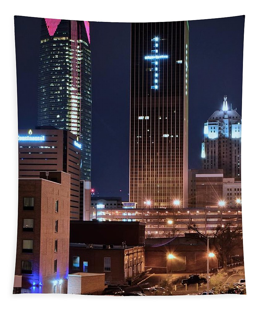 Oklahoma Tapestry featuring the photograph Okc Towers by Frozen in Time Fine Art Photography