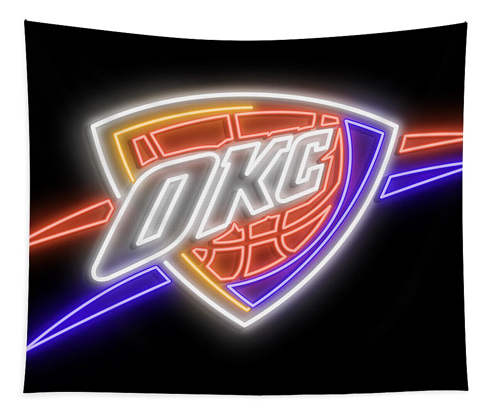 Oklahoma City Tapestry featuring the digital art Oklahoma City Thunder Neon Sign by Ricky Barnard