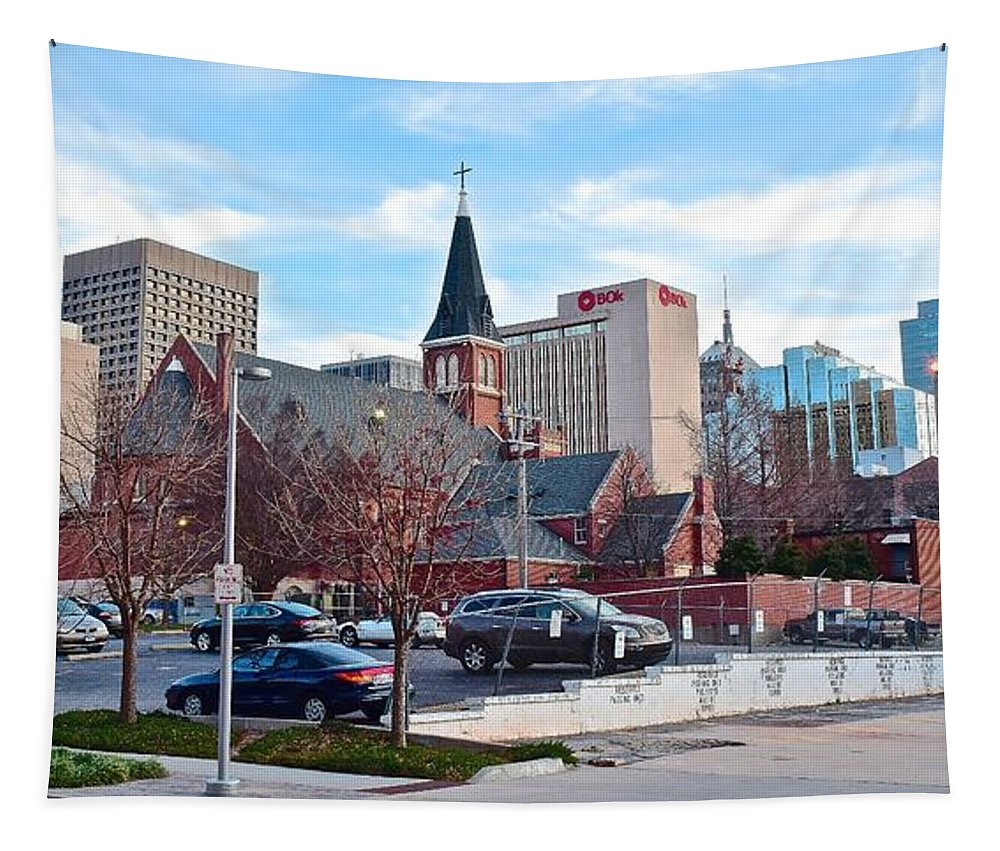 Oklahoma Tapestry featuring the photograph Oklahoma City Wide Angle by Frozen in Time Fine Art Photography