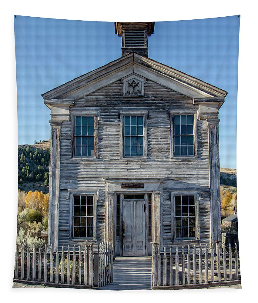 Bannack Tapestry featuring the photograph Old Bannack Schoolhouse And Masonic Temple 2 by Teresa Wilson