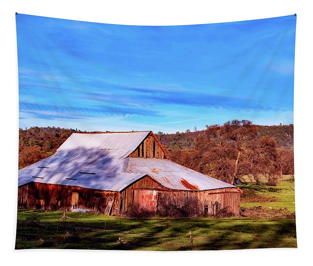 Butte County Tapestry featuring the photograph Old Barn In California by Mountain Dreams