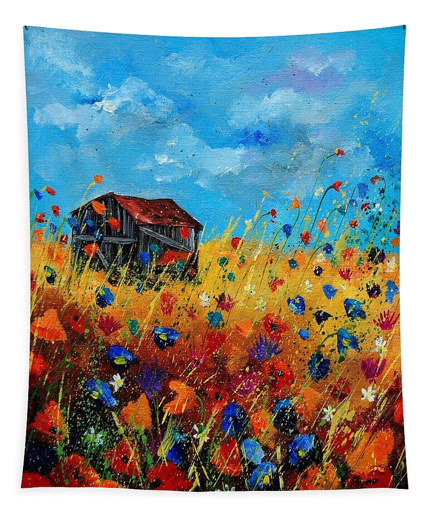 Poppies Tapestry featuring the painting Old Barn by Pol Ledent