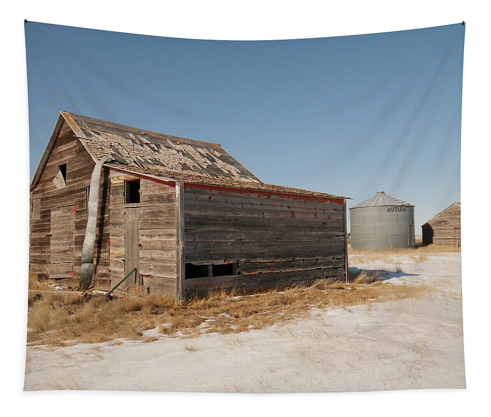 Old Tapestry featuring the photograph Old Barns And A Grain Bin by Jeff Swan