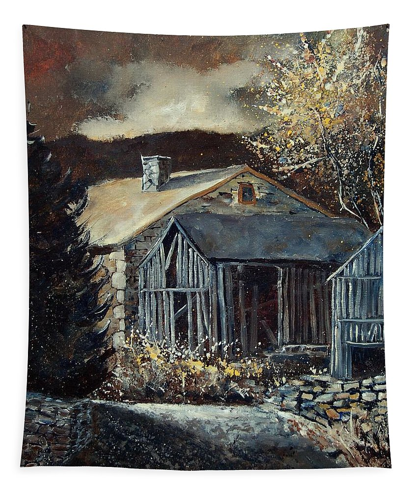 Village Tapestry featuring the painting Old Barns by Pol Ledent