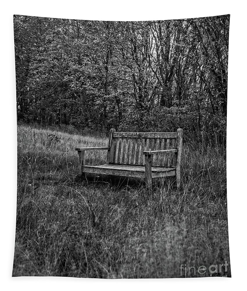 Bench Tapestry featuring the photograph Old Bench Concord Massachusetts by Edward Fielding