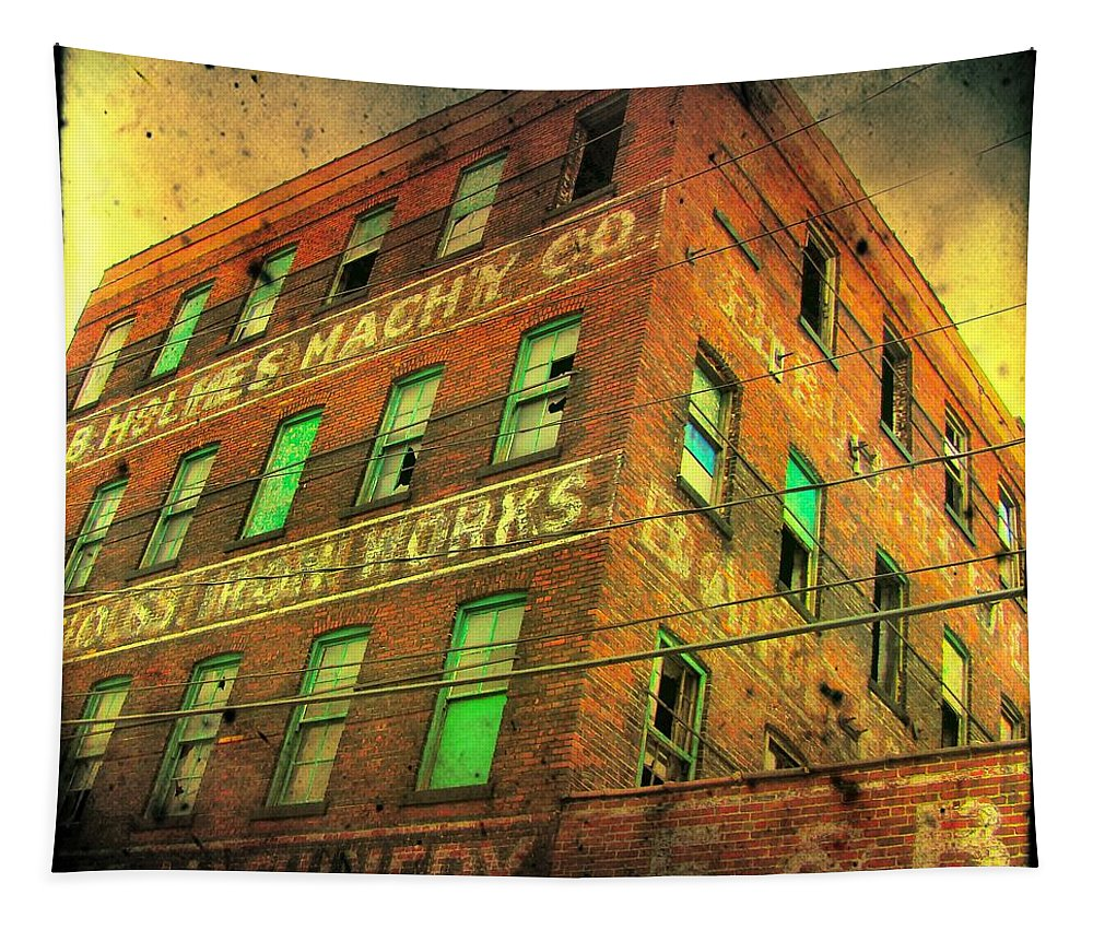 Architecture Tapestry featuring the photograph Old Empty Building In Retro Colors by Gothicrow Images